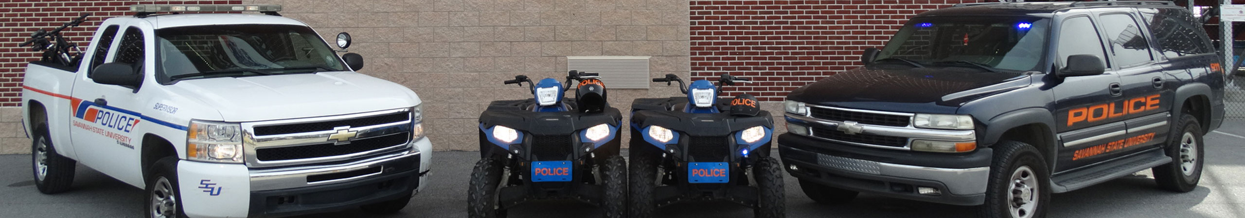 Savannah State University public safety trucks and atvs