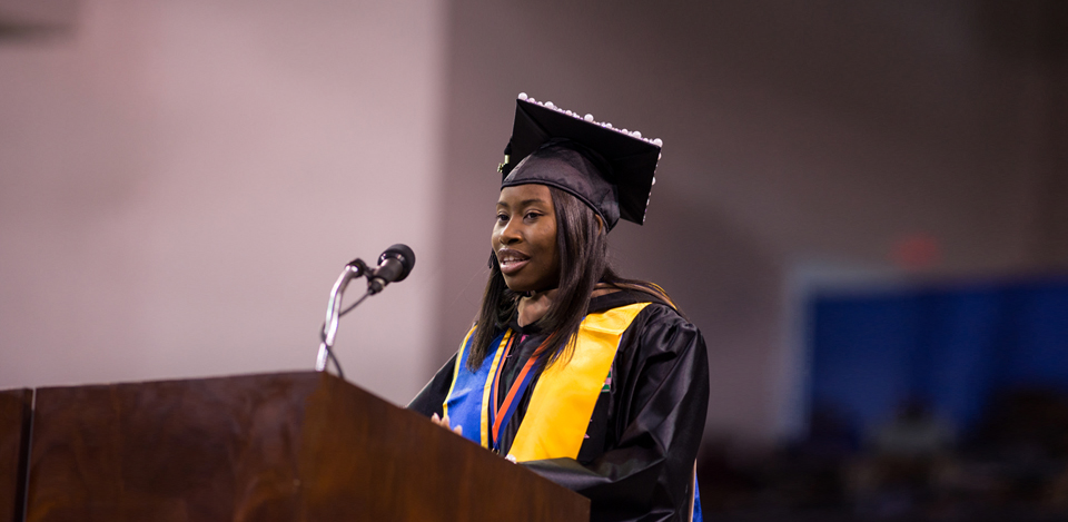 December 2014 Second Mile Award winner Ariel Shead speaking at commencement.